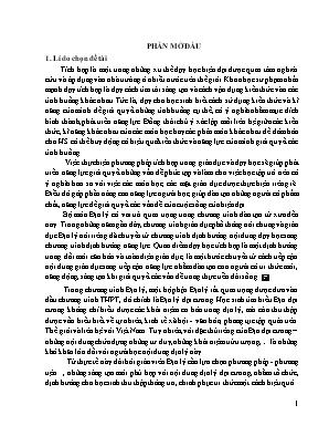"""SKKN Dạy học theo chủ đề tích hợp liên môn bài """"Dân số và sự gia tăng dân số"""" Địa lí 10 phần Đại lí dân cư"""
