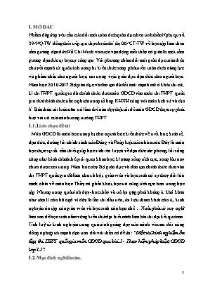 SKKN Một vài kinh nghiệm ôn tập, thi THPT quốc gia môn GDCD qua bài 2 - Thực hiện pháp luật, GDCD lớp 12
