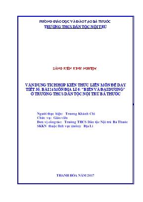 """SKKN Vận dụng tích hợp kiến thức liên môn để dạy tiết 30, bài 24 môn Địa lí 6: """"biển và đại dương"""" ở trường THCS dân tộc nội trú Bá Thước"""