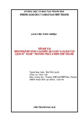 """Bìa SKKN Biện pháp để nâng cao hiệu quả giờ """"làm bài tập Lịch sử"""" ở lớp 7 trường THCS & THPT Như Thanh"""