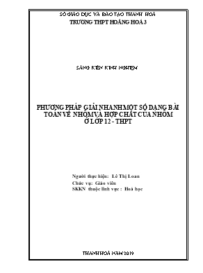 Phương pháp giải nhanh một số dạng bài toán về nhôm và hợp chất của nhôm ở lớp 12 - THPT