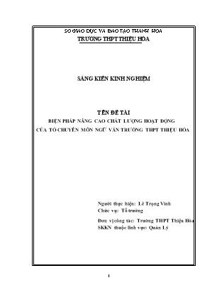SKKN Biện pháp nâng cao chất lượng hoạt động của tổ chuyên môn ngữ văn trường THPT Thiệu Hóa