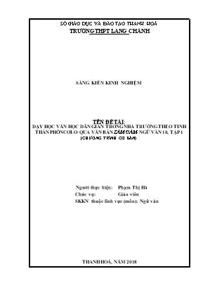 SKKN Dạy học văn học dân gian trong nhà trường theo tinh thần phôncơlo qua văn bản tấm cám - Ngữ văn lớp 10, tập 1 (chương trình cơ bản)