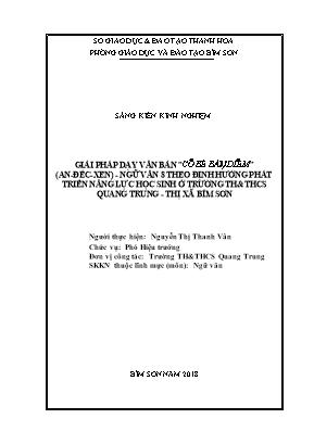"""SKKN Giải pháp dạy văn bản """"cô bé bán diêm"""" (An - Đéc - Xen) - Ngữ văn 8 theo định hướng phát triển năng lực học sinh ở trường TH & THCS Quang Trung - Thị xã Bỉm Sơn"""