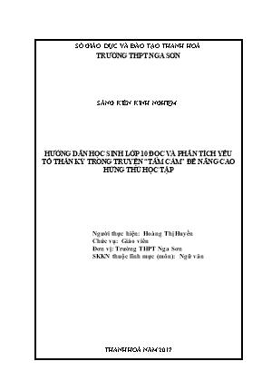 """SKKN Hướng dẫn học sinh lớp 10 đọc và phân tích yếu tố thần kỳ trong truyện """"Tấm Cám"""" để nâng cao hứng thú học tập"""