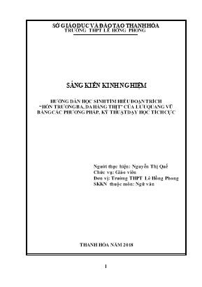 SKKN Hướng dẫn học sinh tìm hiểu văn bản Hồn Trương Ba, da hàng thịt (trích) của Lưu Quang Vũ bằng các phương pháp, kỹ thuật dạy học tích cực