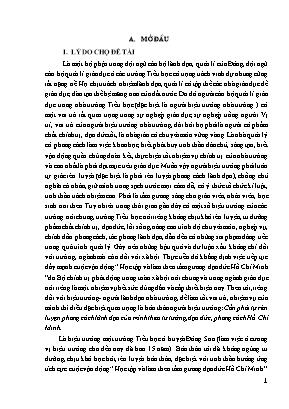 SKKN Một số biện pháp học tập và rèn luyện theo tư tưởng, đạo đức, phong cách Hồ Chí Minh. Góp phần nâng cao phẩm chất, năng lực cho Hiệu trưởng trường Tiểu học Đông Ninh, huyện Đông Sơn, Thanh Hoa