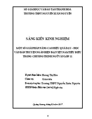 SKKN Một số giải pháp nâng cao hiệu quả dạy – học văn bản truyện ngắn hiện đại Việt Nam tiêu biểu trong chương trình Ngữ văn lớp 11