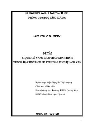 SKKN Một số kĩ năng khai thác kênh hình trong dạy học Lịch sử 9 trường THCS Quảng Văn