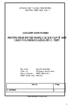 SKKN Phương pháp đồ thị trong các bài tập về hợp chất của nhôm và kẽm lớp 12 - THPT
