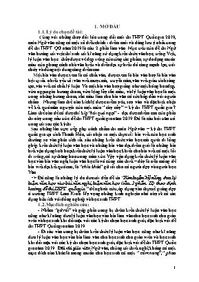 SKKN Rèn luyện kỹ năng đưa lý Luận văn học vào bài văn nghị Luận văn học (câu 2 phần II) theo định hướng đề thi THPT quốc gia