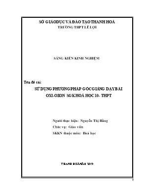 SKKN Sử dụng phương pháp góc giảng dạy bài oxi - Ozon sgk Hoá học 10 - THPT