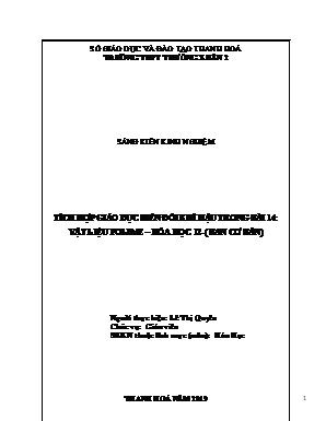 SKKN Tích hợp giáo dục biến đổi khí hậu trong bài 14: Vật liệu polime – Hóa học 12 - (Chương trình chuẩn)