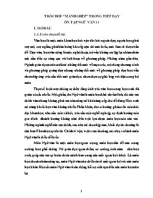 """SKKN Trò chơi """"mảnh ghép"""" trong tiết dạy ôn tập Ngữ văn 11"""