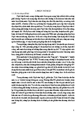 SKKN Vận dụng kĩ thuật KWL vào việc dạy học đọc - Hiểu các văn bản thơ Việt Nam hiện đại ở lớp 9