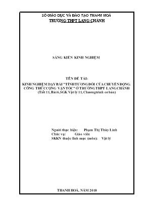 Kinh nghiệm dạy bài tính tương đối của chuyển động. công thức cộng vận tốc ở trường THPT Lang Chánh (tiết 11, bài 6, sgk Vật lý 11, chương trình cơ bản)
