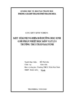 Một số kinh nghiệm bồi dưỡng học sinh giỏi phần nhiệt học môn Vật lí 8 trường THCS Trần Mai Ninh