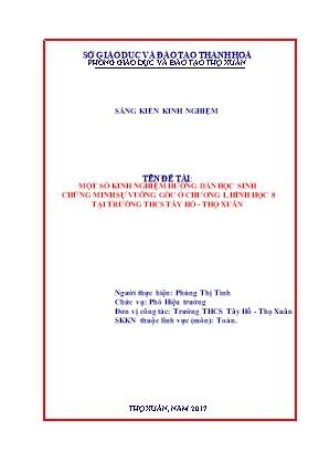 Một số kinh nghiệm hướng dẫn học sinh chứng minh sự vuông góc ở chương I, Hình học 8 tại trường THCS Tây Hồ - Thọ Xuân