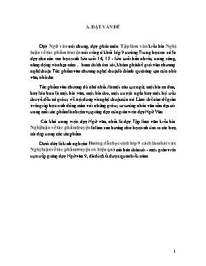 Sáng kiến kinh nghiệm Hướng dẫn học sinh lớp 9 cách làm bài văn Nghị luận về tác phẩm truyện có hiệu quả