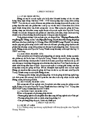 """SKKN Hướng dẫn tìm hiểu truyện ngắn """"Rừng xà nu"""" của Nguyễn Trung Thành theo đặc trưng thi pháp thể loại cho học sinh lớp 12 Trung Tâm GDTX - DN Lang Chánh"""