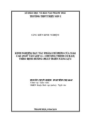 SKKN Kinh nghiệm dạy tác phẩm chí phèo của Nam Cao (Ngữ văn lớp 11 – Chương trình cơ bản) theo định hướng phát triển năng lực