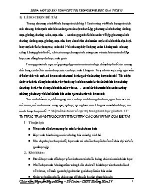 SKKN Một số bài toán về cực trị trong Hình học giải tích 12
