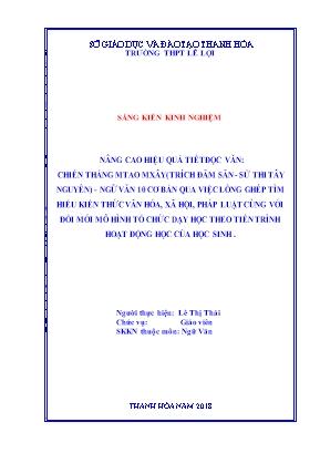 SKKN Nâng cao hiệu quả tiết đọc văn: chiến thắng Mtao mxây (trích Đăm săn - Sử thi tây nguyên) - ngữ văn 10 cơ bản qua việc lồng ghép tìm hiểu kiến thức văn hóa, xã hội, pháp luật cùng với đổi mới mô hình tổ chức dạy học theo tiến trình hoạt động học của