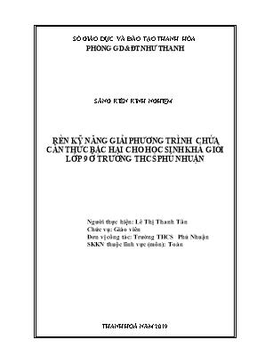 SKKN Rèn kỹ năng giải phương trình chứa căn thức bậc hai cho học sinh khá giỏi lớp 9 ở trường THCS Phú Nhuận