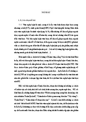 SKKN Rèn luyện kĩ năng vận dụng tri thức LLVH cho học sinh lớp 12 trong bài nghị luận về một bài thơ, đoạn thơ