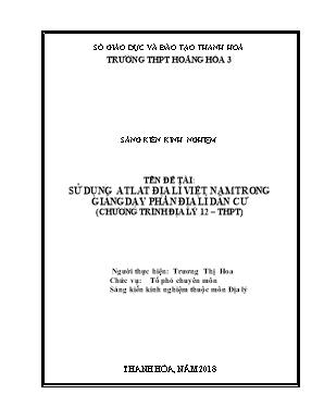 SKKN Sử dụng Atlat địa lí Việt Nam trong giảng dạy phần địa lí dân cư (chương trình Địa lý 12 – THPT)
