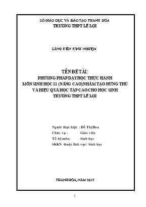 Phương pháp dạy học thực hành môn Sinh học 11 (nâng cao) nhằm tạo hứng thú và hiệu quả học tập cao cho học sinh trường THPT Lê Lợi