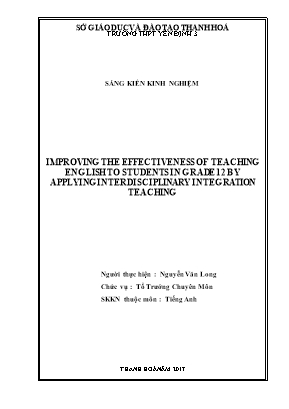 Improving the effectiveness of teaching english to students in grade 12 by applying interdisciplinary integration teaching