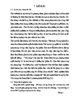 """Kinh nghiệm định hướng học sinh tìm hiểu theo Chuyên đề """"thế giới nghệ thuật trong bài thơ Vội vàng của Xuân Diệu"""" (chương trình SGK lớp 11)"""