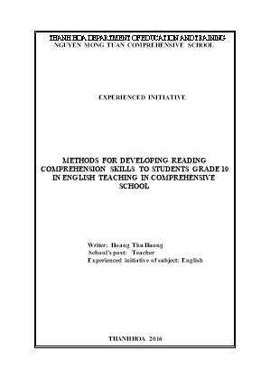 Methods for developing reading comprehension skills to students grade 10 in english teaching in comprehensive school