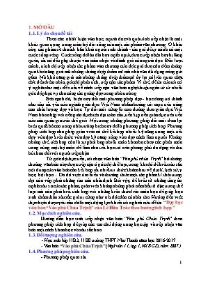 """SKKN Dạy học văn bản """"Vào phủ Chúa Trịnh"""" của Lê Hữu Trác theo hướng tích hợp"""