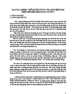 """SKKN Dạy tác phẩm """"Chữ người tử tù"""" của Nguyễn Tuân theo phương pháp sơ đồ tư duy"""