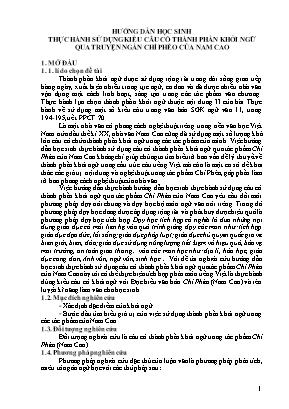 SKKN Hướng dẫn học sinh thực hành sử dụng kiểu câu có thành phần khởi ngữ qua truyện ngắn Chí phèo của Nam Cao