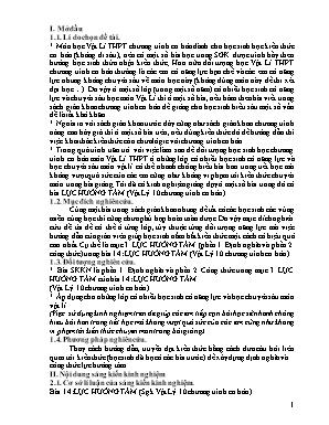 SKKN Kinh nghiệm giảng dạy ở một số bài trong đó có bài lực hướng tâm (Vật lý 10 chương trình cơ bản)