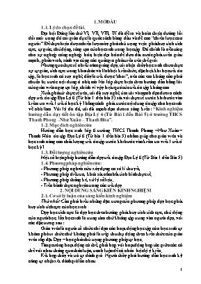 SKKN Kinh nghiệm hướng dẫn dạy tiết ôn tập Địa Lý 6 (Từ Bài 1 đến Bài 5) ở trường THCS Thanh Phong – Như Xuân – Thanh Hóa