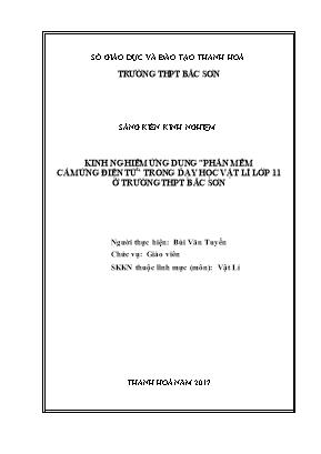 """SKKN Kinh nghiệm ứng dụng """"phần mềm cảm ứng điện từ"""" trong dạy học Vật lí lớp 11 ở trường THPT Bắc Sơn"""