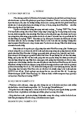 """SKKN Kinh nghiệm vận dụng thơ ca, câu đố vào Bài: 26 Luyện tập Nhóm halogen"""" (SGK Hóa Học Lớp 10 - Ban cơ bản ) nhằm nâng cao hiệu quả dạy và học môn Hóa Học ở trường THPT"""