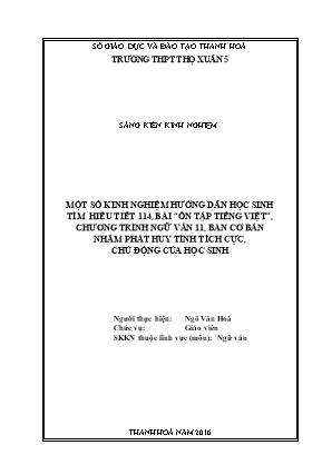 """SKKN Một số kinh nghiệm hướng dẫn học sinh tìm hiểu tiết 114, bài """"ôn tập Tiếng Việt"""", chương trình Ngữ văn 11, ban cơ bản nhằm phát huy tính tích cực, chủ động của học sinh"""
