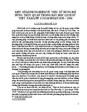 SKKN Một số kinh nghiệm về việc sử dụng đồ dùng trực quan trong dạy học lịch sử Việt Nam lớp 12 giai đoạn 1930 – 1954