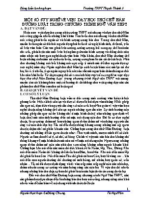 SKKN Một số suy nghĩ về việc dạy học thơ chữ hán đường luật trong chương trình Ngữ văn THPT
