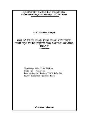 SKKN Một số ví dụ nhằm khai thác kiến thức hình học từ bài tập trong sách giáo khoa Toán 9