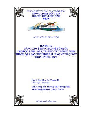 """SKKN Nâng cao ý thức bảo vệ tổ quốc cho học sinh lớp 9, trường THCS Đông Ninh thông qua dạy tích hợp bài """"bảo vệ tổ quốc"""" trong môn GDCD"""