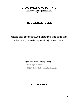 SKKN Những nội dung cơ bản bồi dưỡng học sinh giỏi cấp tỉnh qua phần lịch sử Việt Nam lớp 10
