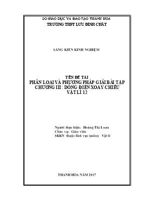 SKKN Phân loại và phương pháp giải bài tập chương III: Dòng điện xoay chiều Vật lí 12