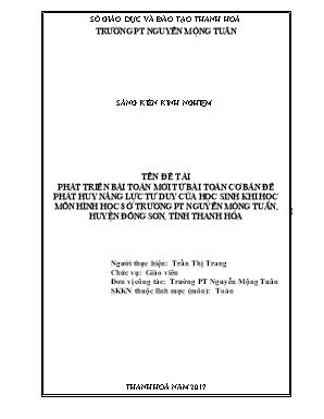 SKKN Phát triển bài toán mới từ bài toán cơ bản để phát huy năng lực tư duy của học sinh khi học môn hình học 8 ở trường PT Nguyễn Mộng Tuân, huyện Đông sơn, tỉnh Thanh Hóa