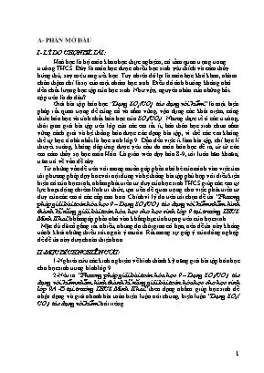 SKKN Phương pháp giải bài toán Hóa học 9 – Dạng SO2 (CO2) tác dụng với kiềm nhằm hình thành kĩ năng giải bài toán hóa học cho học sinh lớp 9 tại trường THCS Minh Khai